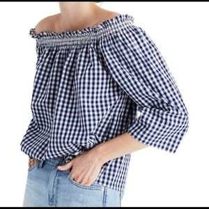 MADEWELL OFF THE SHOULDER GINGHAM TOP